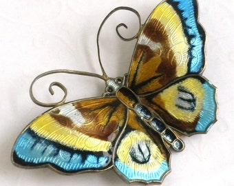 David Andersen Enameled Butterfly Brooch - Large - Vintage Enamel Sterling Silver Butterfly