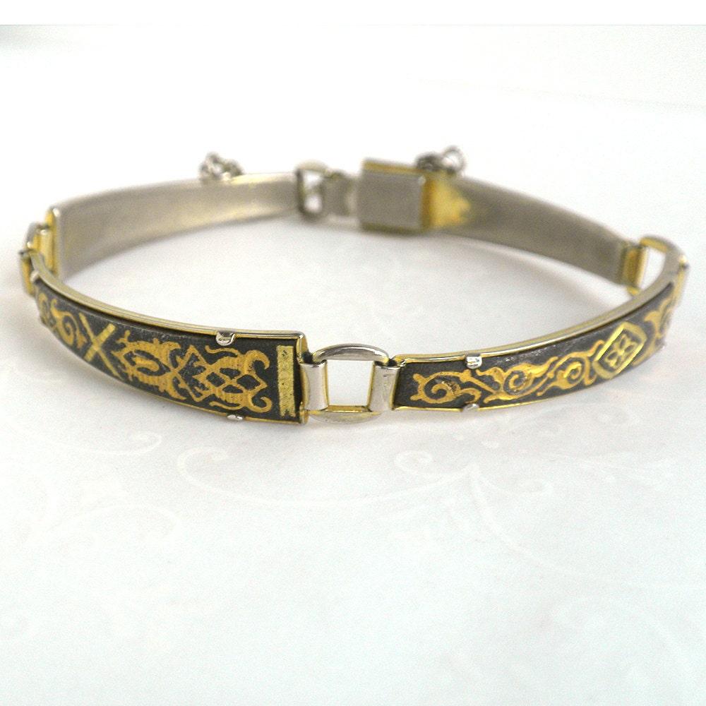 Delicate Vintage Damascene Link Bracelet
