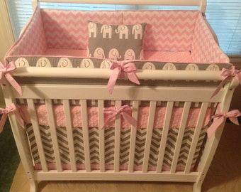 MINI CRIB Pink and Gray Elephant Custom Crib Bedding