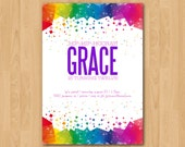 Printable Colorful Abstract Confetti Birthday Party invitation