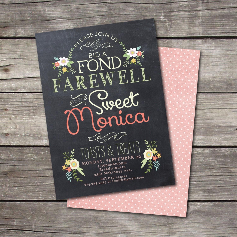 Printable Vintage Chalkboard Farewell Party Invitation