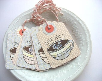 Love You A Latte Coffee Cup Gift Tags with Glittery Coffee Art, Coffee Lover Tags, Shabby Chic Pretty Packaging, Gift Topper