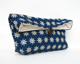 Nautical Clutch, Navy Clutch, Blue Clutch, Ship's Wheel, Nautical Clutch, Nautical Helm, Nautical Wedding Party Bridesmaid Gift Idea