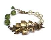Brass Oak Leaf Green Crystal and Cream Pearl Bracelet, Bridesmaid Gifts, Fall Wedding