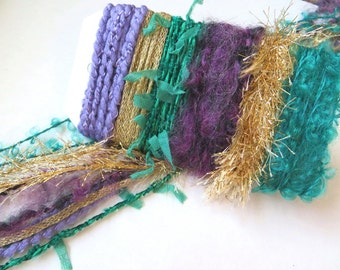 MARDI GRAS Specialty Yarn Fiber Embellishment Bundle - Scrapbooking, Altered Arts, Jewelry - 5 or more bundles 10% off