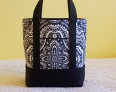 BIBLE TOTE Journaling Bible Tote Perfect Size for your Bible, Journal, Pens, Study guides.  Charcoal Grey Damask with Black accents..
