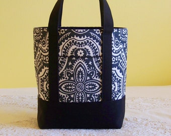 BIBLE TOTE Perfect Size for your Bible, Journal, Pens, Study guides.  Charcoal Grey Damask with Black accents..