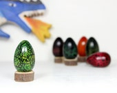 "Small Wooden Dragon Egg: ""Lizard Green"" Green 