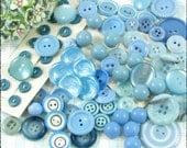 70 Vintage Pastel, Baby Blue Buttons, Aqua, Some Sets