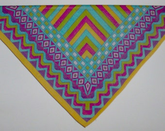 Bright Square Scarf with Geometric Design