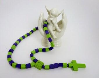Catholic Rosary - Catholic Rosary made of  Lego Bricks - Purple and Lime Green Rosary