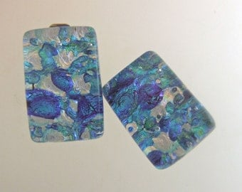 Blue Brocade Glass Clip On Earrings, Fused Glass Jewelry from North Carolina