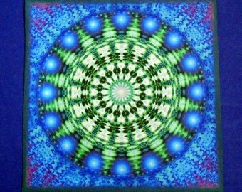 Blue Emerald Healing Mandala Altar Cloth, Crystal Grid