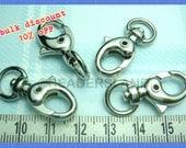 bulk -10% / Y120RH / 40 Pc / 31 x 12 mm - Rhodium Plated Triggered Key Hook / Key Chain Findings