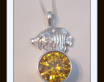Yellow cz Fish Necklace ss
