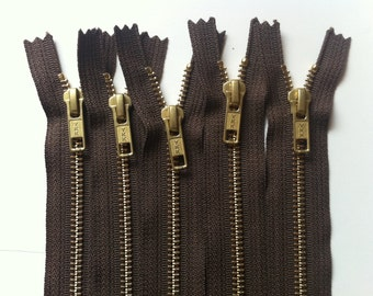 NUMBER 5s -Brass Zippers- closed bottom ykk gold colored metal teeth zips 5mm- (5) pieces - Chocolate 009- available in 7,12 and 20 inches