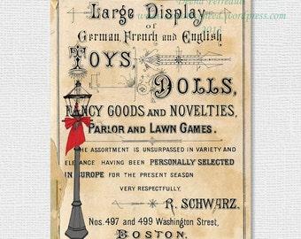 Digital Art Print Vintage Christmas Toy Sale Sign, INSTANT DOWNLOAD Original printable art, Affordable Art