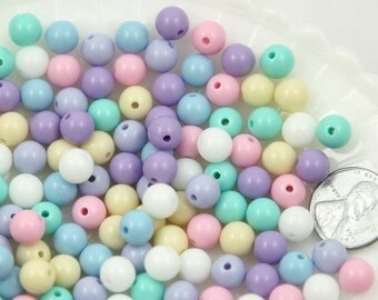 Pastel Beads - 8mm Small Pastel Gumball Bubblegum Plastic Acrylic or Resin Beads - 150 pc set