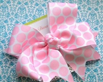 Pale Pink Bubble Gum Dots XL Diva Bow