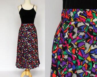 SALE - 80's Pleated Midi Skirt / Bright Confetti Print / Flowing Polyester / Chaus / Medium