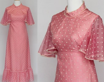 70's PInk Prom Dress / Maxi Dress / Pink & White Polka Dot / Flutter Sleeves / XXSmall