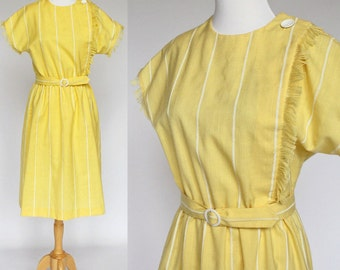 70's Yellow Linen Shift Dress / Belt / Fringe Accent / Small