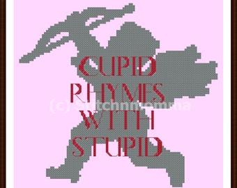 13003 - Stupid Cupid Anti-Valentine Original Design Cross Stitch PDF Pattern - DIGITAL DOWNLOAD