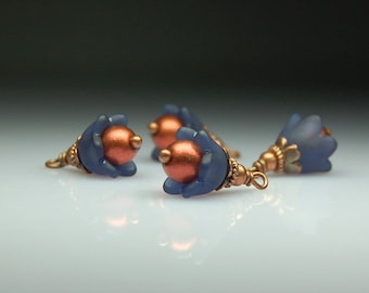 Vintage Style Bead Dangles Dark Blue Lucite Flowers Set of Four BL419