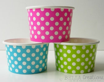 12 Mini Polka Dot Ice Cream Cups, Treat Cups, Popcorn Cups - 4oz.