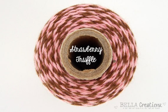 SALE - Pink and Brown Bakers Twine by Timeless Twine - Strawberry Truffle