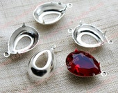 18x13 Prong Setting Sterling Silver Plated Tear Drop Open Back 1 Ring / 2 Ring -8pcs
