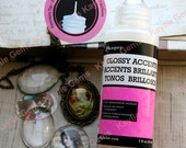 Glass Cabochon Photo Glue - Ranger Glossy Accents Clear Gloss Medium Adhesive Precision Tip Acid Free  Non-Toxic Made in USA 2 OZ