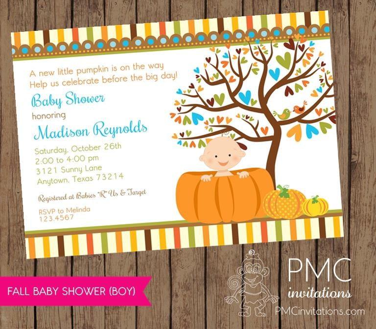 little boy pumpkin baby shower invitations by pmcinvitations