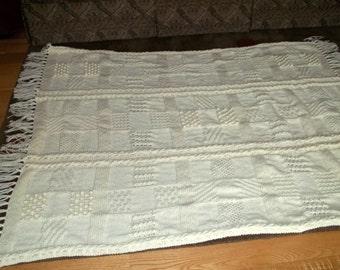 Afghan Knit in Patchwork Pattern in Aran, Blanket, Throw