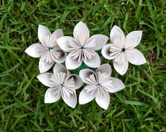 Frankenstein Recycled Book Paper Flowers {5 Medium Size}