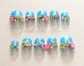 Aquarium nails, summer nail, fish, kiwi, tropical, vacation, glitter, aqua blue, sea, beach, nemo, kawaii, hawaiian, blue, Japanese 3D nail