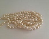 Long Ivory Glass Pearl Vintage Necklace