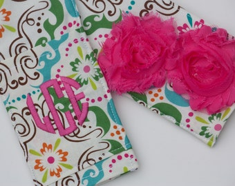 DSLR Camera Strap Cover- lens cap pocket and padding included- Shabby Chic Monogrammed Lovely
