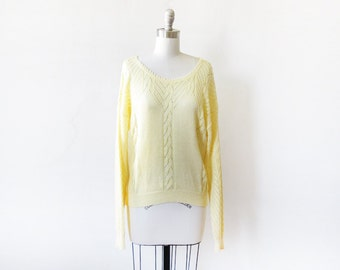 yellow sweater, vintage yellow pointelle sweater, large 80s slouchy sweater
