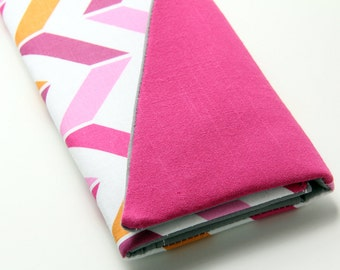 Womens Wallet, Handmade Wallet, Chevron Wallet, Pink Chevron Stripes, Clutch Wallet, Smartphone Clutch