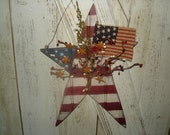 Americana Bead Board Star with Flag, Americana, Primitive, Rustic, Door Hanger, Ofg, Faap, Hafair, Dub