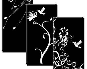 Nature on Black - 1x2 inch rectangles - (2) Digital sheets