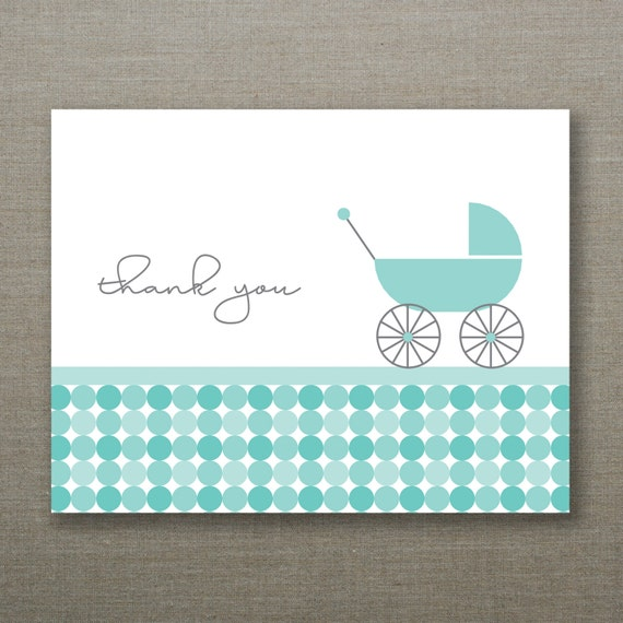 10 Modern Circles Baby Boy Shower Thank You Cards - Charley