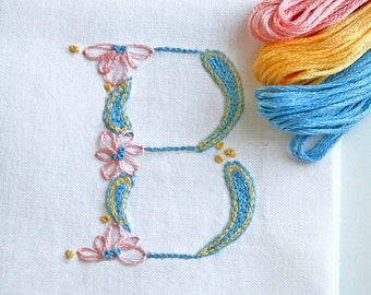 DIY pdf Crewel Embroidery Pattern Monogram B is for Baby instant download tutorial flower embroidery kit