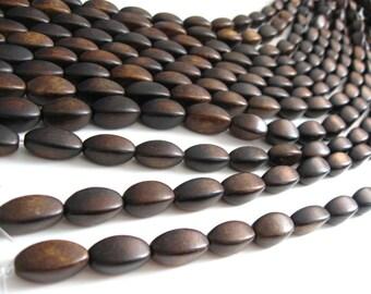 6 Oval Dark Brown Horn Beads 18mm  (PN400)