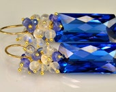 Reserved-Multi Gemstone  Dangle Earrings Quartz Moonstone Tanzanite 14k Goldfill Wire Wrapped Earrings