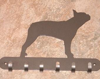 Boston Terrier LEASH RACK Hat Key Hook Wall K9 Dog Pet Decor