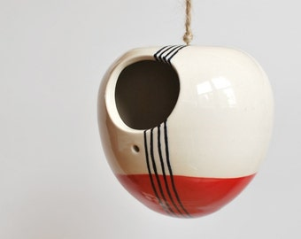Ceramic Bird House in Red Stripes MADE TO ORDER