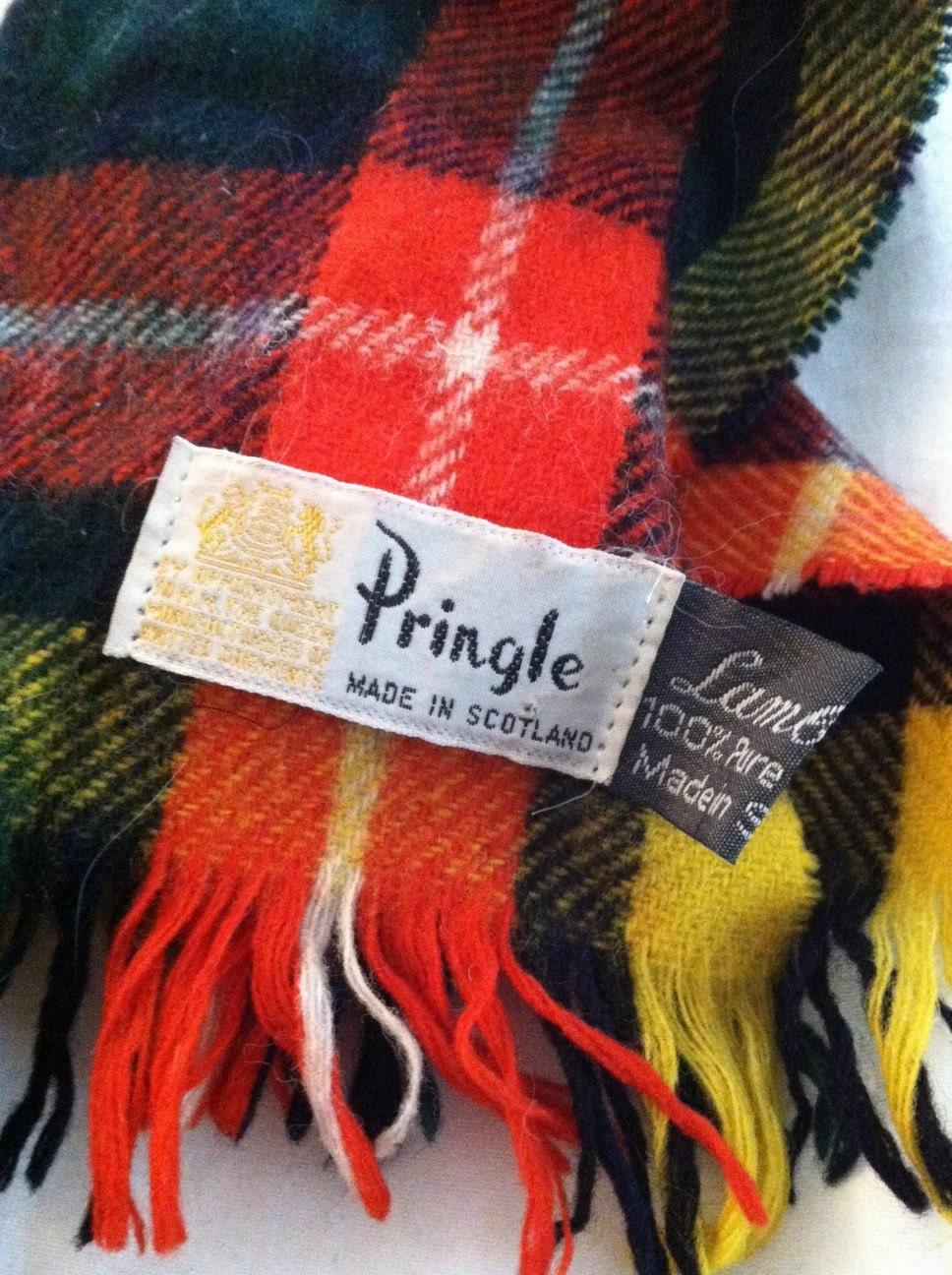 vintage pringle of scotland plaid scarf 100 by karpark88