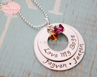 Personalized Hand Stamped Stacked Washer Necklace with Swarovski Birthstones